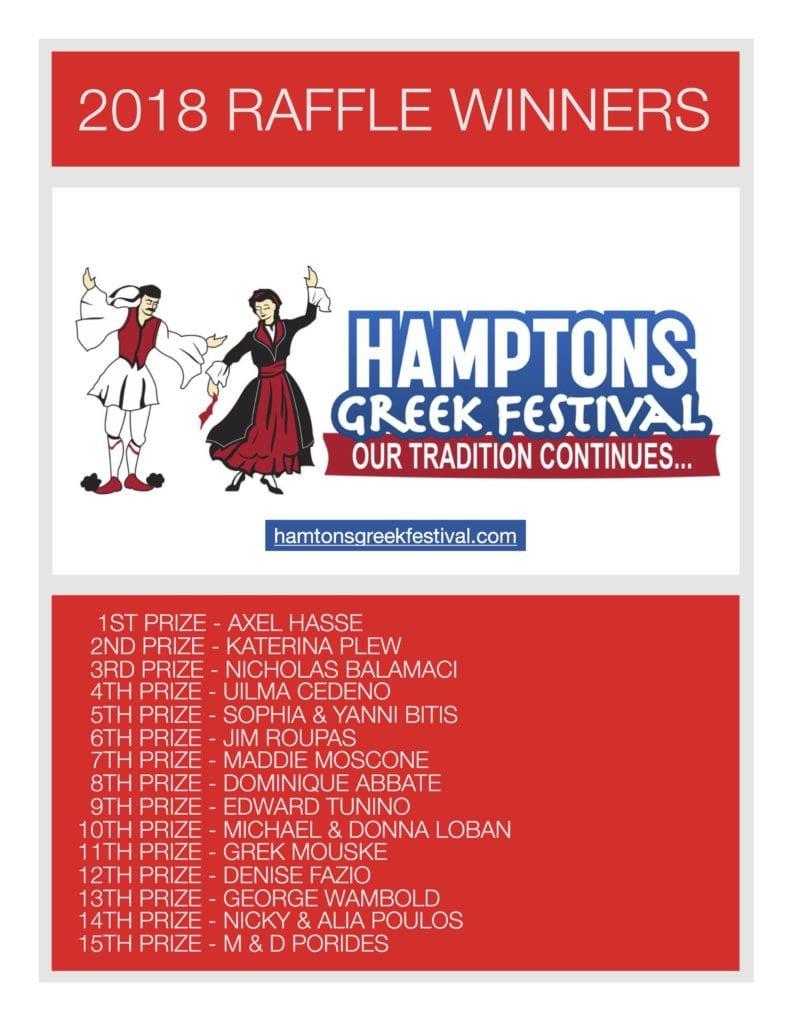 2018 Raffle Festival Winners
