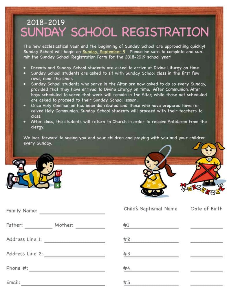 2018 Sunday School Registration